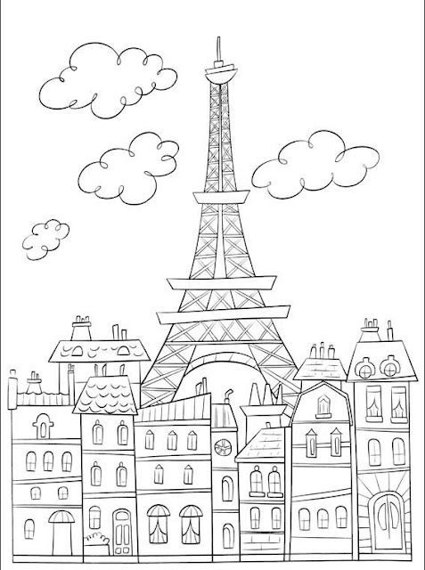 Coloring page Eiffel Tower, movie background / set