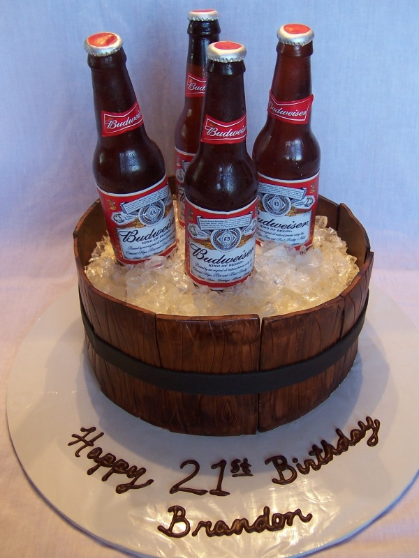 Red Horse Cake Design : Beer Barrel Cake with poured sugar beer bottle and ice ...