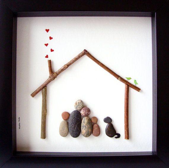 Pebble Art Family- Unique Family Gift - Custom Family Art- Family of 4 and Dog…