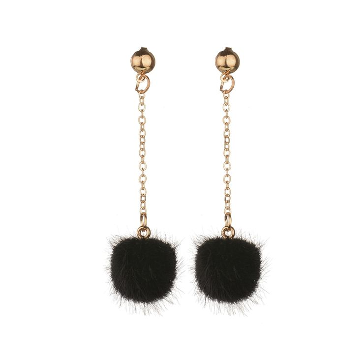 Plush Ball Long Earrings - 7 Colors //Price: $7.95 & FREE Shipping //     }