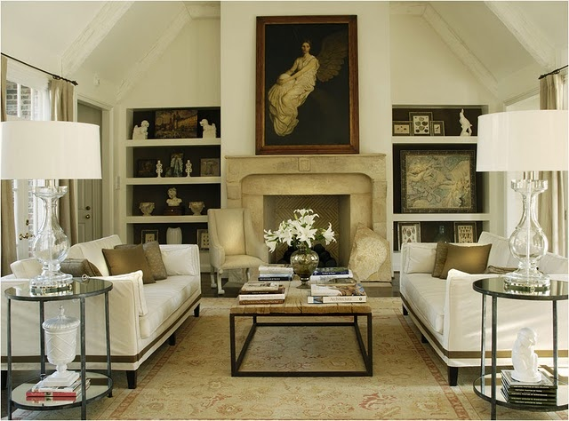 This room has everything - symmetry, classic pieces...refined and rustic, natural materials, balance of colours - I love. Caldwell & Flake
