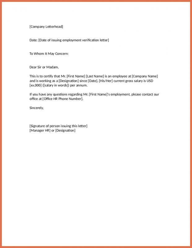 Employment Verification Letter Template Letter Templates Lettering Company Letterhead