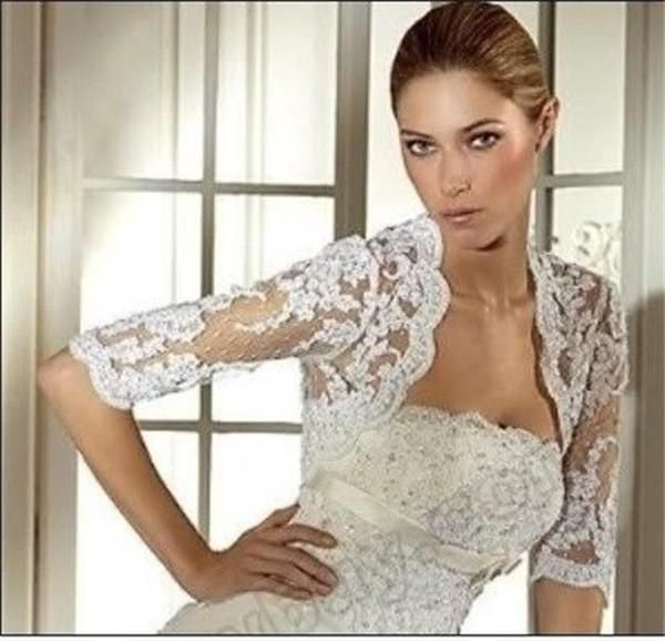 Bridal Jackets with Half Sleeves 2015 Wedding Wraps with Appliques Cheap Bridal Accessories Sexy Wedding Boleros with 1/2 Sleeves, $13.62 | DHgate.com