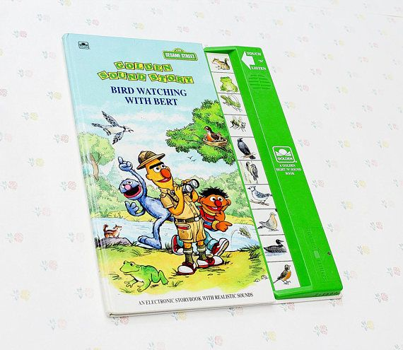 """Bird Watching with Bert Golden Sound Story Book, 1991. Sound works great! Book is in nice condition with minor wear. Original owner left his/her name on the inside cover.  """"Bird Watching with Bert is a 1991 Sesame Street Golden Sight n Sound Book that follows Bert, Ernie and Grover as"""