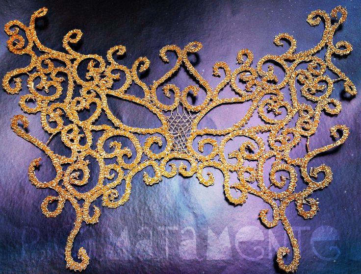 Gold Butterfly Mask Bobin lace
