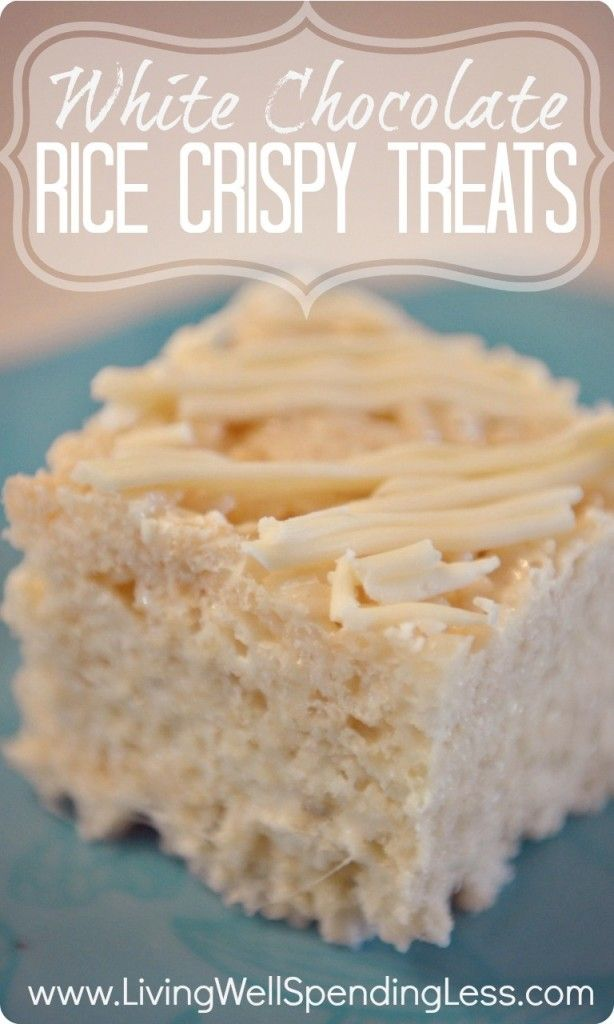 White Chocolate Rice Crispy Treats. Oh my goodness, these are SO good! Hard to believe they take only 4 ingredients and 20 minutes to make!
