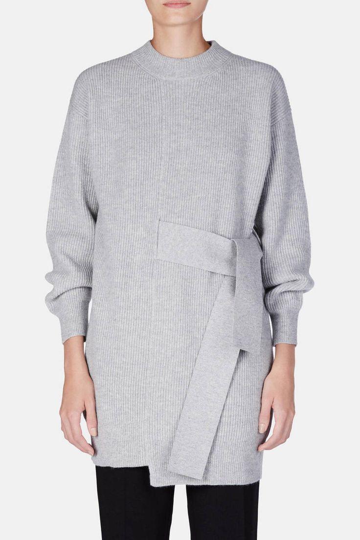 Proenza Schouler — L/S Knit Dress With Tie Light Grey Melange