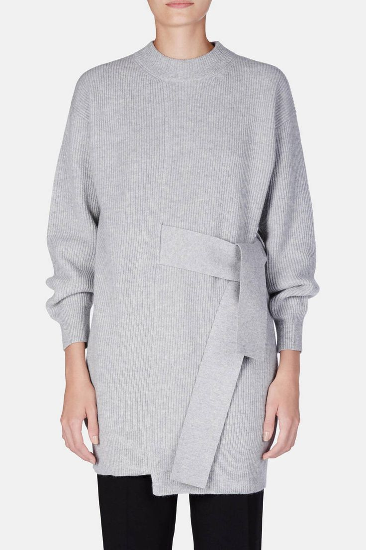 Proenza Schouler — L/S Knit Dress With Tie Light Grey Melange
