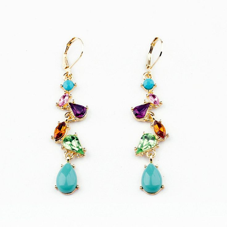 Bohemian Fashion Drop Earrings Vintage Gold Plate Earrings Elegant Wedding Party Jewelry Colorful Dangle Long Earrings for Women