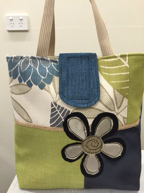 Upcycled Tote - upholstery fabric samples                              …