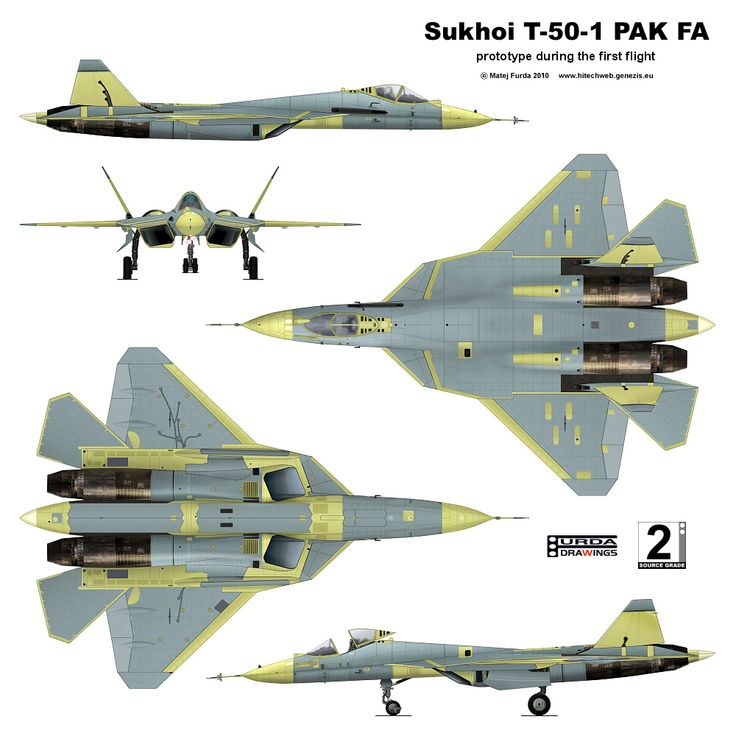 Sukhoi T-50-1 PAK FA is a twin-engine jet fighter being developed by Sukhoi for the Russian Air Force. http://en.wikipedia.org/wiki/Sukhoi_PAK_FA