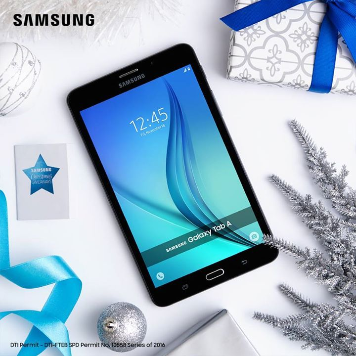 On the 5th day of Christmas, at the Christmas Giveaways: A price off for the Galaxy Tab A!  Get more out of your 13th month pay with this Php 1000 off offer and other Merry Christmas deals. Check out the Samsung Christmas Giveaways promo Samsung Experience Stores and authorized dealers nationwide!  For more info on the Samsung Christmas Giveaways, click here: http://spr.ly/ChristmasGiveaways2016.