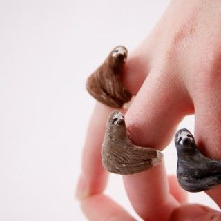 Faultier-Ringe - Trage Schmuck, der deinen Lebensstil symbolisiert. Warum sollte man noch plumpe Goldketten oder teure Diamantohrringe tragen, wenn man Faultier-Ringe haben kann?