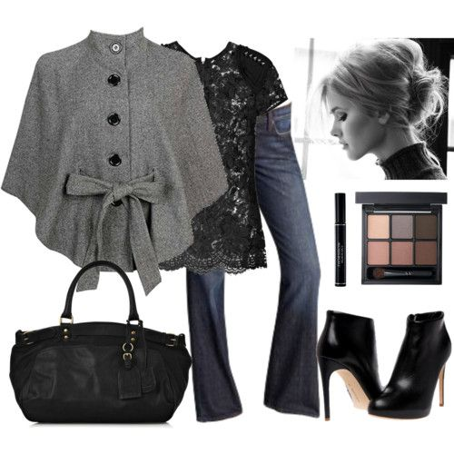 Polyvore: Shoes, Lace Tops, Classy Style, Capes, Jackets, Winter Outfits, Lace Shirts, Ponchos, Coats