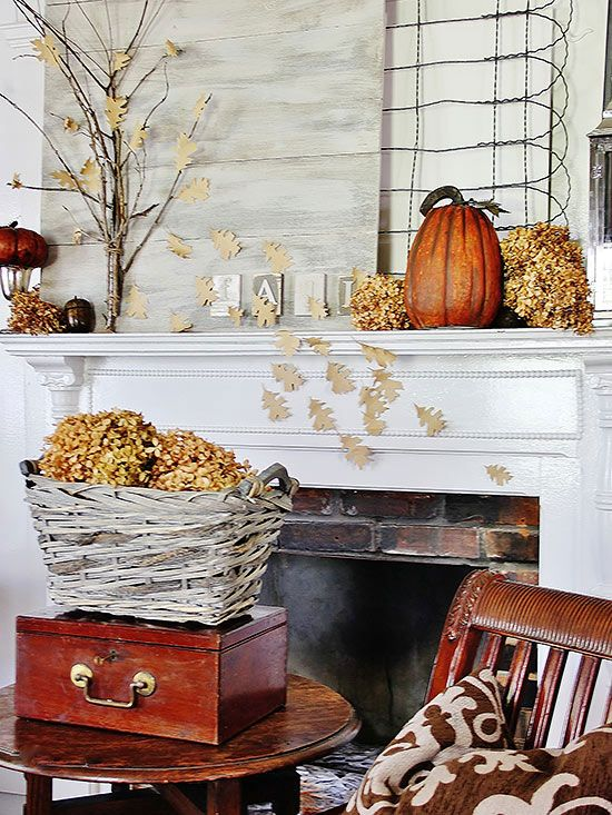 A roaring fire is the final element needed to draw every eye to your stunning fall mantel.