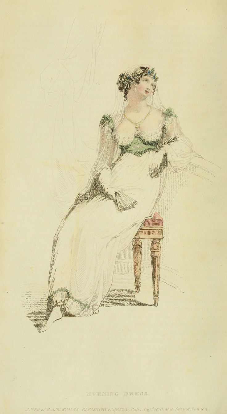 Regency fashion plate the secret dreamworld of a jane austen fan - Evening Dress Ackermann S Repository 1813 Via Www Ekduncan Com