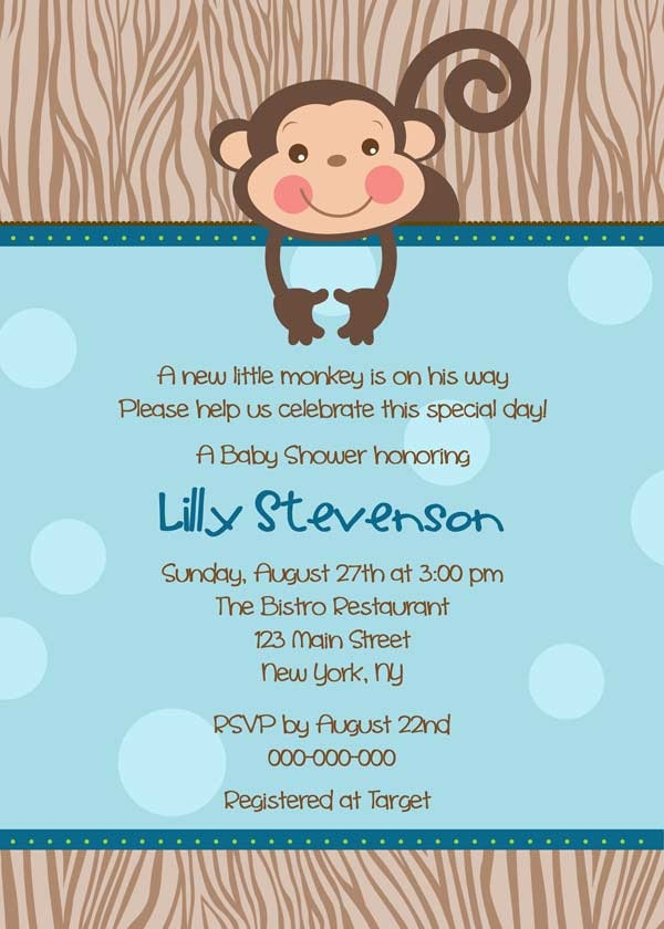 141 best images about monkey baby shower on pinterest | baby, Baby shower invitations