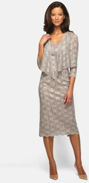 Alex Evenings Embellished Lace Pencil Dress & Jacket in Floral (Stone) 104 T14W