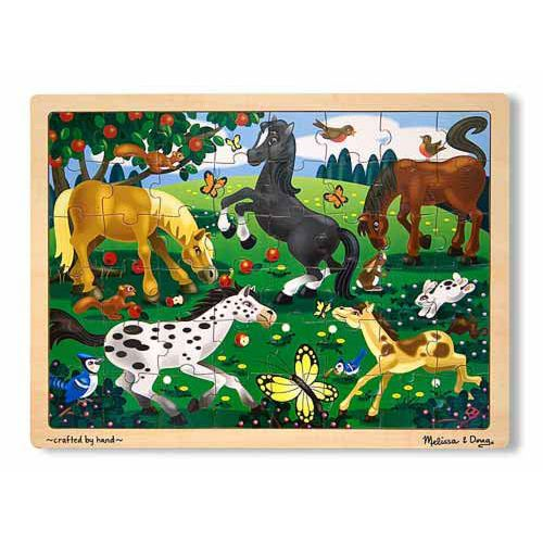 Frolicking Horses Jigsaw  The frolicking horses in this meadow enjoy a windfall of apples while the early bird catches the worm. Assembling this charming puzzle would be enough fun, but count the horses, apples, butterflies and add another activity to the puzzle! 	This wooden, 48-piece jigsaw puzzle comes packaged in a sturdy, wooden tray for puzzle building and easy storage.
