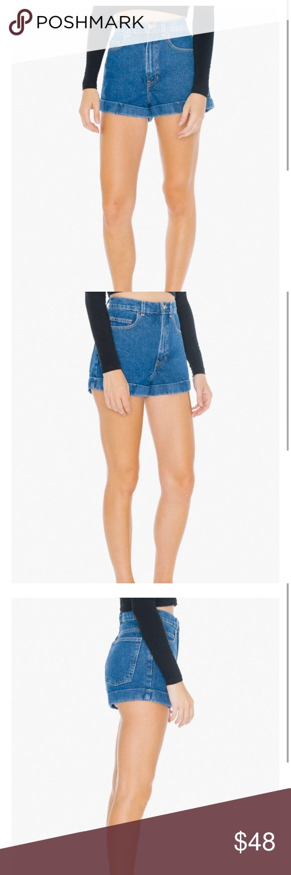 American Apparel High-Waist Jean Cuff Shorts! Note: color is actually the shorts in the last two pictures! Brand new with tags! Photo credits to AA. Last two pictures are mine! Offers are welcome but no lowballing! American Apparel Shorts Jean Shorts