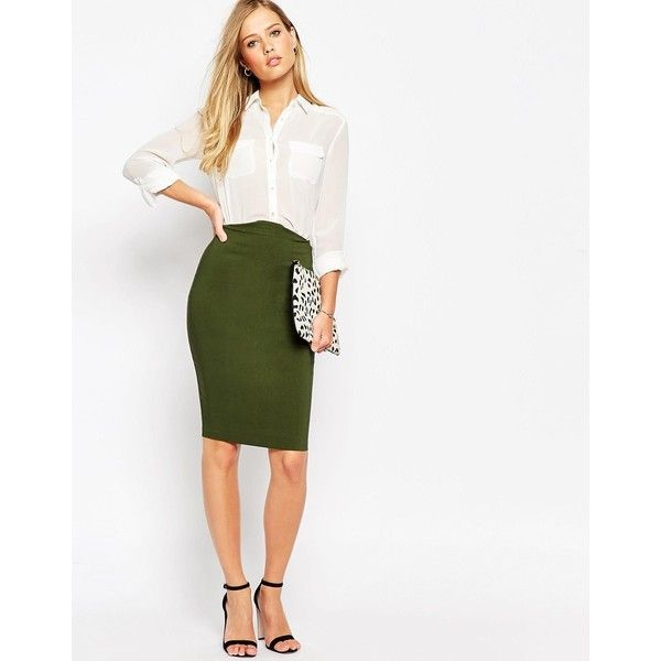 ASOS High Waisted Pencil Skirt ($29) ❤ liked on Polyvore featuring skirts, olive, olive green pencil skirt, white bodycon skirt, white skirt, asos and knee length bodycon skirt