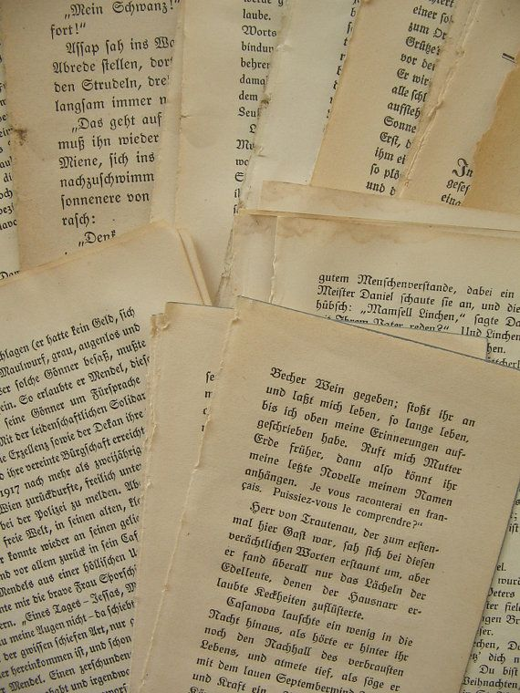 40 Gothic German Font Book Pages Paper Pack by TheBrightonEmporium