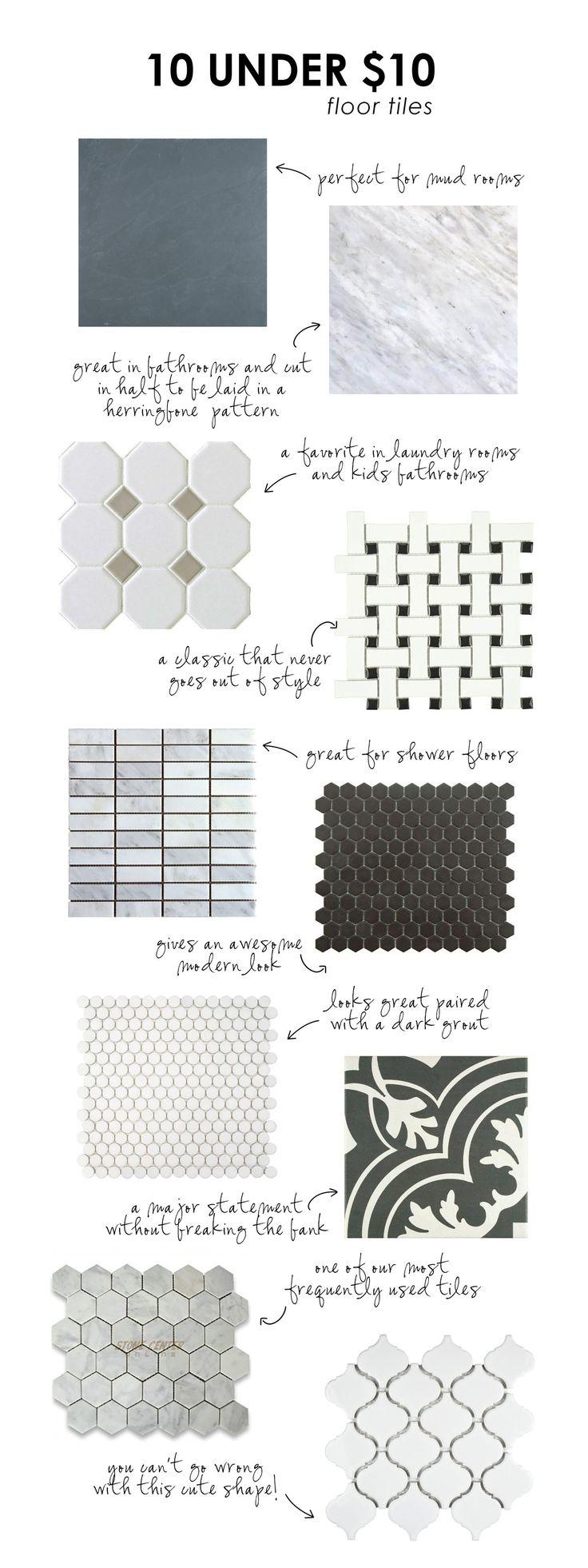 10 floor tiles under $10/sq.ft.    Studio McGee