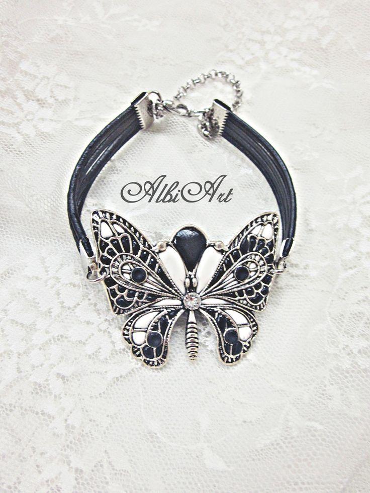 Pulsera mariposa arcilla polimérica blanca y negra