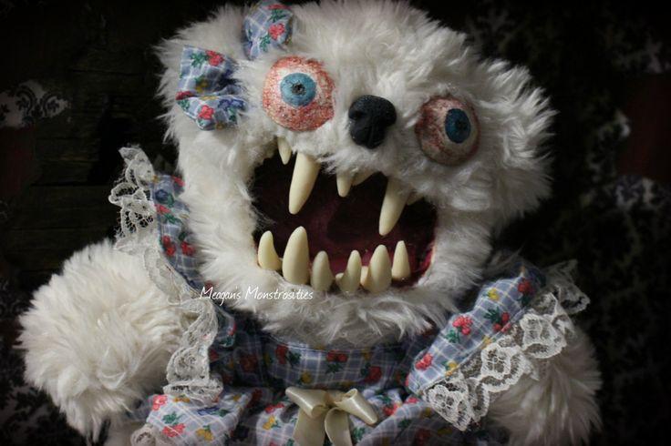 Marshmallow- Creepy teddy bear, monster teddy, big teeth, horror art doll, monster stuffed animal by MeagansMonstrosities on Etsy