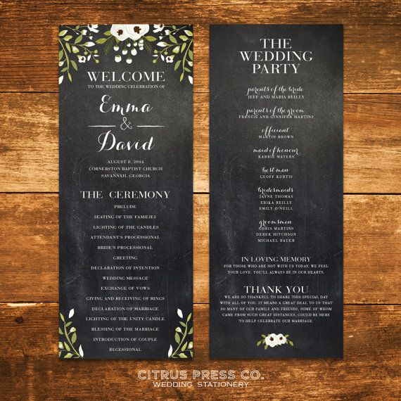 Chalkboard Wedding Program Tea Length With Flowers Print