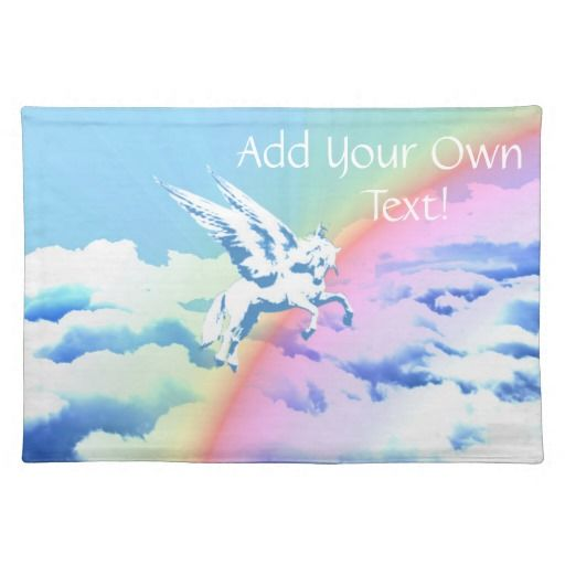 Pegasus Flying Over Clouds And Rainbow - This placemat features a Pegasus flying over a rainbow over clouds. Add your own name or text!