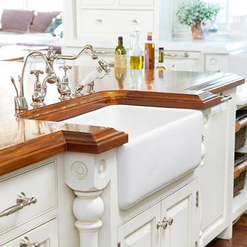 countertop: Dreams Kitchens, Dreams Houses, Kitchens Countertops, Farms Sinks, Farmhouse Sinks, Farmhouse Kitchens, Better Homes And Gardens, Wood Countertops, Countertops Guide