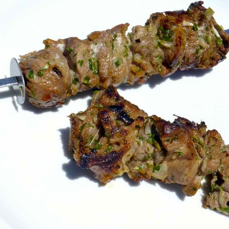 Shashlik is lamb or beef meat that is marinated in an acid liquid, typically based on vinegar, wine or lemon before grilling it on a BBQ.