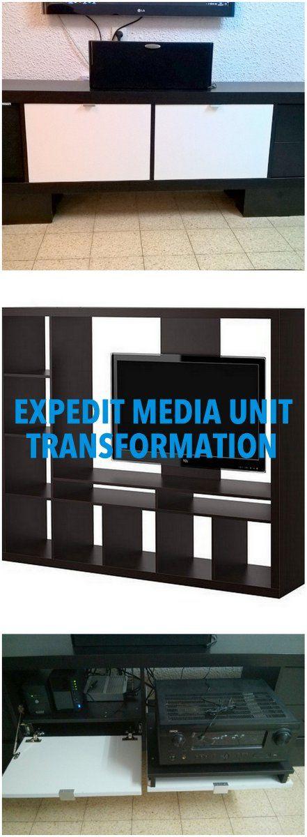 expedit media unit transformation ikea expedit kallax. Black Bedroom Furniture Sets. Home Design Ideas