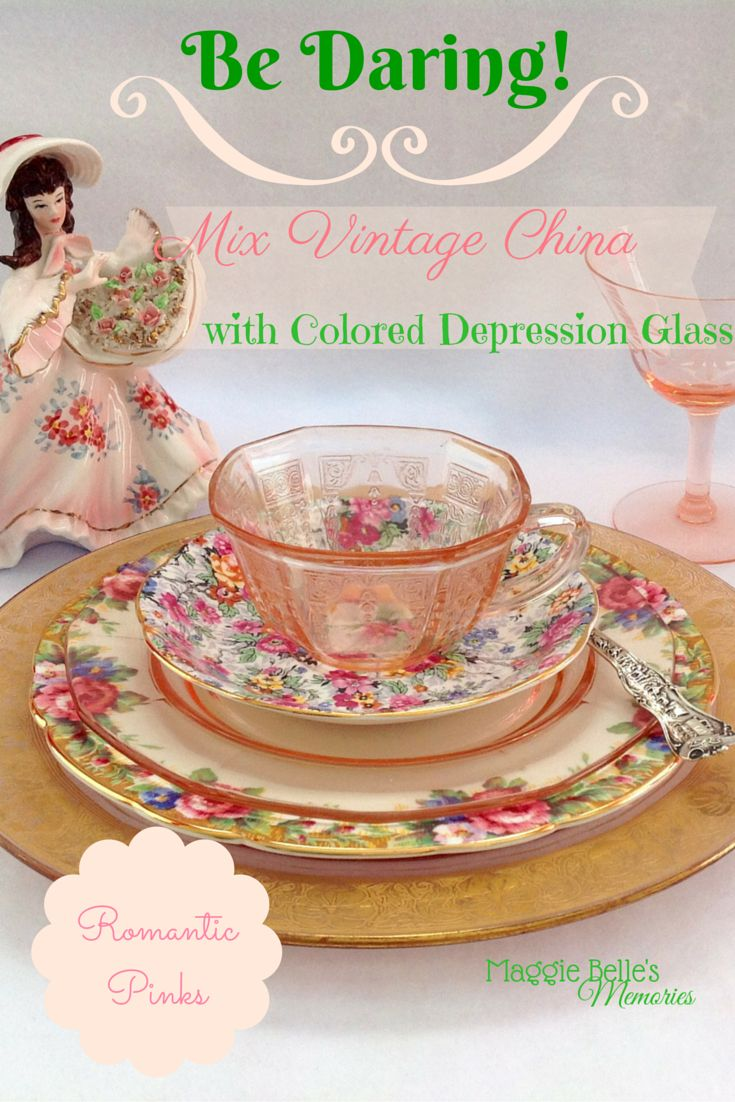 Update your vintage dinnerware, Bone China, and Depression Glass by combining mismatched pieces.  Choose your color palette for a baby shower, summer wedding, or garden party theme and create a tablescape that is uniquely you! Mixing patterns and textures gives your table a fun, innovative look!