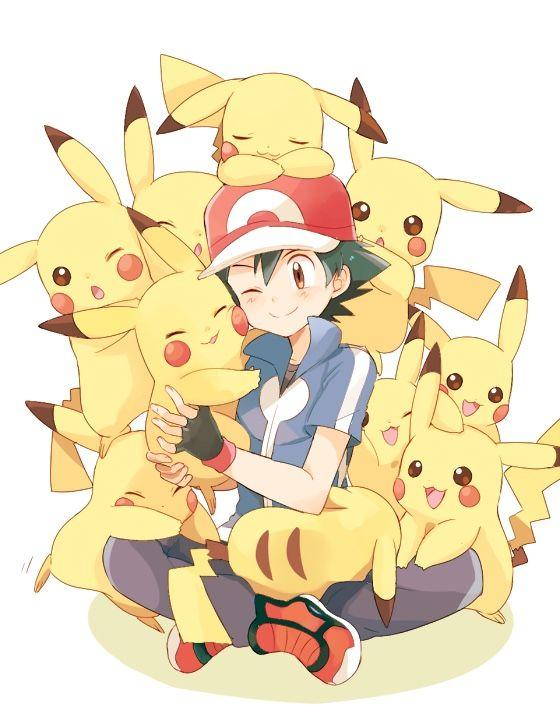 Beautiful ♡ Ash Ketchum with Pikachu ^.^ ♡