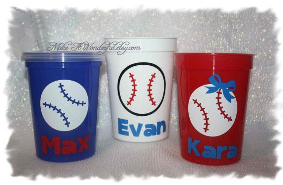Personalized Baseball Softball Tball Cup party favor- choose your colors! on Etsy, $3.25