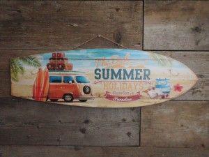 Houten wandbord Surfplank met de tekst The Best Summer Holidays blauw ecru 75x24 cm