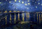 Notte stellata sul Rodano, dipinto da Van Gogh. Spettacolare visione del fiume data dal genio olandese.