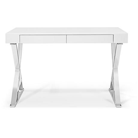 Elm High Gloss White Wood and Stainless Steel 2-Drawer Desk - #23D87 | Lamps Plus