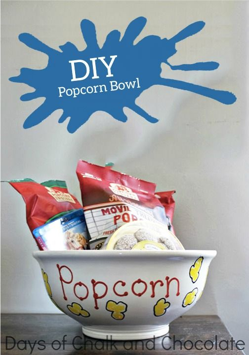 Decorate this DIY popcorn bowl and fill it with all the best popcorn flavors and toppings to create the perfect family gift!