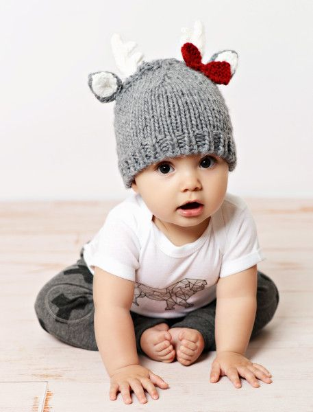 """The """"Hartley"""" Deer Gray Hat will bring a smile to any child's face! This adorable hat is hand knit in a soft gray yarn. Hand Knit from 100% soft acrylic yarn. Newborn 0-1 month Extra Small 1-3 months"""