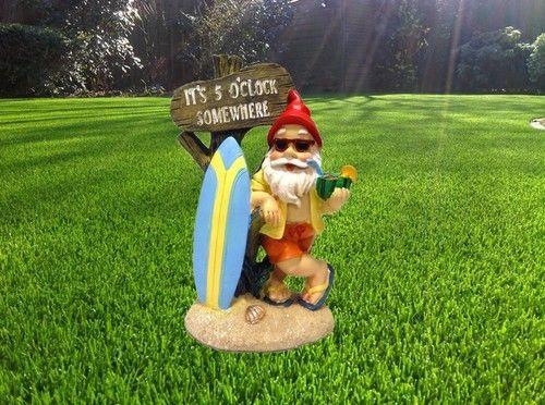 Gnome Sculpture Lawn Garden Statuary Yard Summer Figurine Out Door Fun Ornament