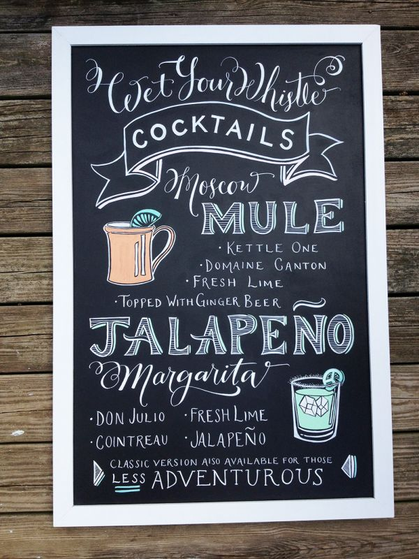 When it comes to hand-calligraphed chalkboard wedding signage, nobody does it better than Niki Weinberg of Paper Tangent. Her inviting signs are completely customized from beginning to end; choose the lettering style, the chalk colors, and the type of frame.