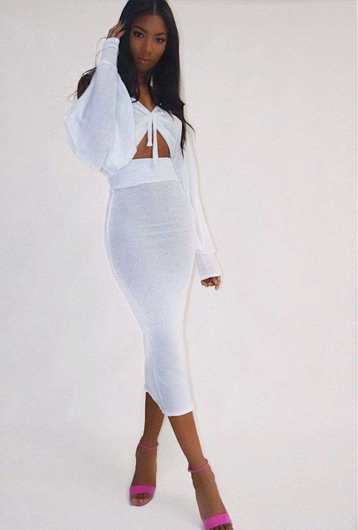 Knitted dream top and maxi pencil skirt comes as set model is wearing a size small