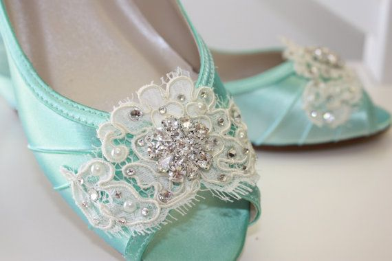 Handmade Lace Wedge Wedding Shoe Choose From Over 100 by Parisxox