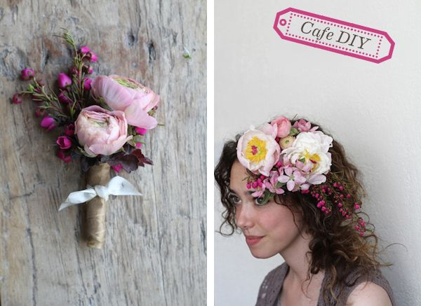 {DIY} FLOWER HAIR GARLAND & BOUTONNIERE -  PART II: THE BOUT  PUT THIS TOGETHER USING THE SAME ITEMS IN THE BOUQUET WITH A VEIL