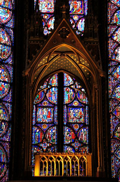 St. Chapelle, Paris  spectacular stain Glass.  more impressive than Notre Damn Stained glass.