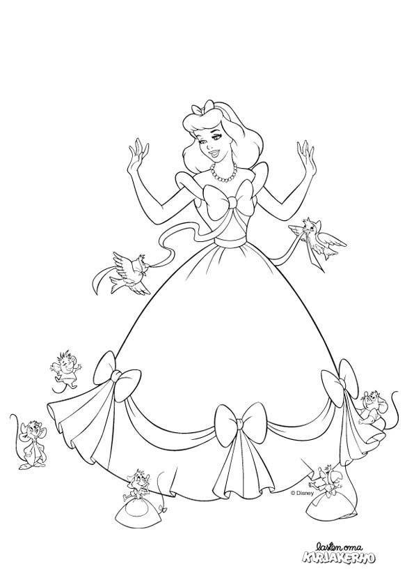 Tuhkimo-värityskuva. Cinderella colouring.  Lasten Oman Kirjakerhon tulostettavat värityskuvat. Free printable pattern. lasten | askartelu | käsityöt  | värittäminen | DIY ideas | kid crafts | colouring