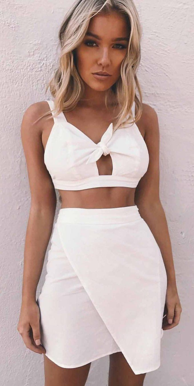 #spring #outfits White Bow Crop Top + White Wrap Skirt